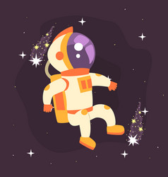 astronaut in space suit working in deep space vector image