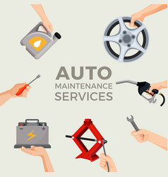 auto maintenance services set with green car in vector image