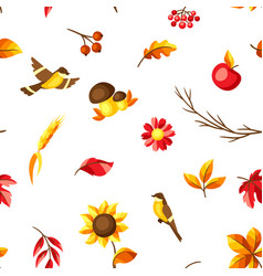 autumn seamless pattern with seasonal leaves and vector image