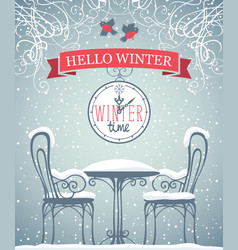 Banner with snow-covered outdoor cafe and clock vector