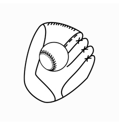 Baseball glove with ball icon isometric 3d style vector