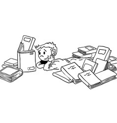 black and white kid with books vector image