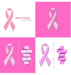 breast cancer awareness ribbon set medical poster vector image