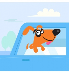 Brown dog travelling in car vector