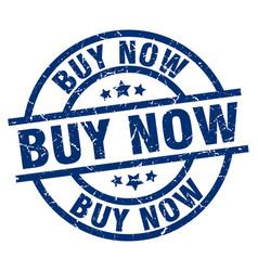 Buy now blue round grunge stamp vector