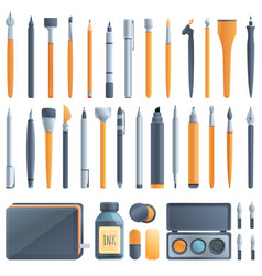 Calligraphy tools icons set cartoon style vector