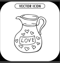 Carafe with hearts vector