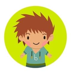 Cartoon casual little boy kid flat icon vector
