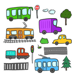 Cartoon city transport trees roads lights vector