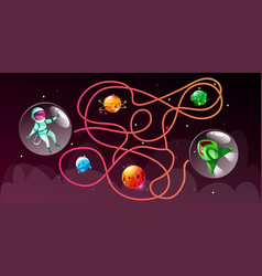 cartoon cosmic maze education game vector image