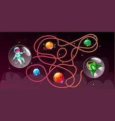 cartoon cosmic maze education game vector image