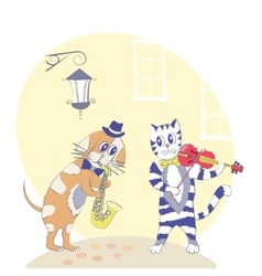 Cat and dog musicians vector
