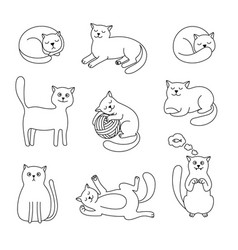 cats doodle sketch collection vector image