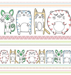 Cats line art pattern vector