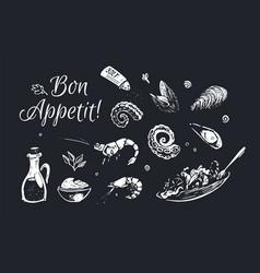 Chalk drawn food poster design background vector