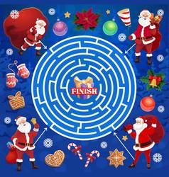 Children christmas labyrinth maze with santa vector