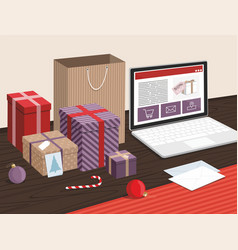 christmas gift boxes and shopping bags on table vector image