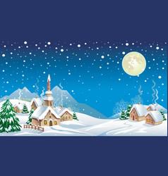 Christmas night in village vector