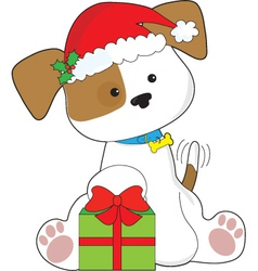 Christmas Puppy vector image