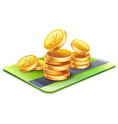 Coins with credit card vector image