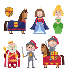 Creative set of medieval characters on white vector