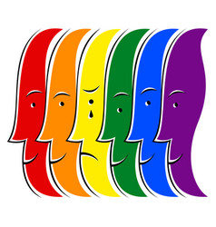 Crying human lgbt movement rainbow flag vector