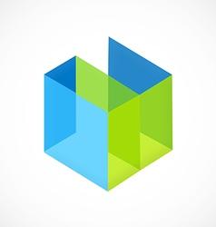 Cube 3d interior abstract logo vector
