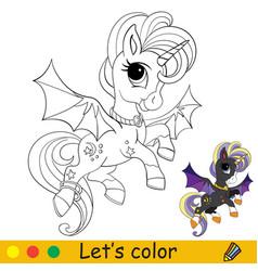 cute bat unicorn with wings flies halloween vector image