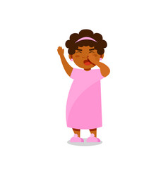 Cute little girl in pink pajamas yawning vector