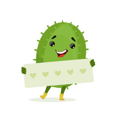 cute smiling cactus holding banner with hearts vector image