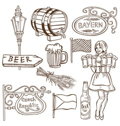 Czech beer and Bavarian drawing vector