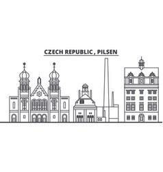 Czech republic pilsen line skyline vector
