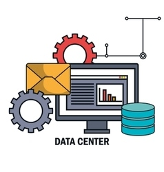 Data center email work isolated vector