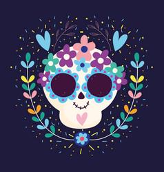 Day dead skull hearts flowers blossom vector
