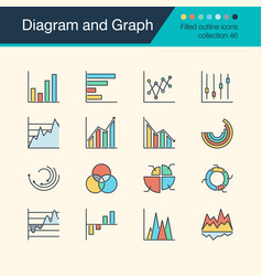 diagram and graph icons filled outline design vector image
