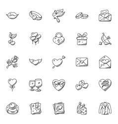Doodle icon set hearts and valentine vector
