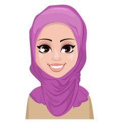 Face expression of arabic woman - smiling vector