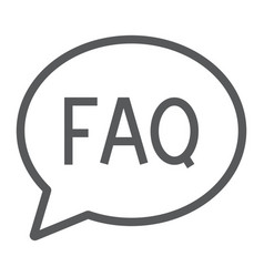 faq line icon speech and bubble button sign vector image
