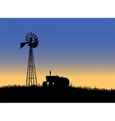 Farm tractor with windmill vector image