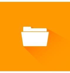 Flat long shadow folder icon vector image