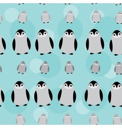 Funny Penguins on blue background seamless pattern vector image