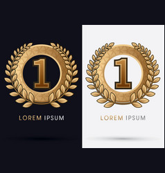 gold ribbon awards for number 1 vector image