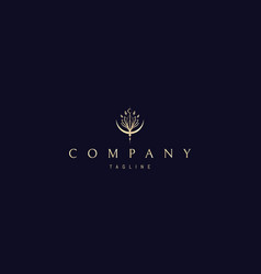 Golden logo on which an abstract image vector