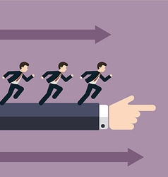 Group of businessman running in the same direction vector