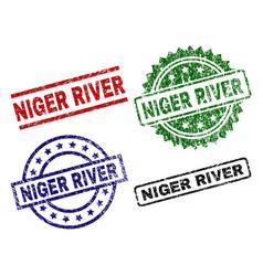 Grunge textured niger river seal stamps vector