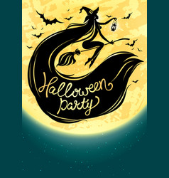 Halloween poster with witch and moon vector