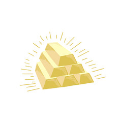 hand drawing sketch icon six gold bars vector image
