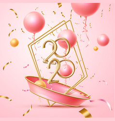 happy 2020 new year poster pink balloons vector image