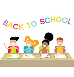 Happy school kids studying and raising their hands vector
