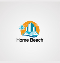 home beach logo icon elementand template for vector image